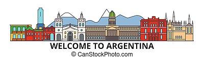argentino, silueta, vector, señales, argentina, banner., delgado, urbano, viaje, línea, plano, cityscape, iconos, perfil de ciudad, contorno, illustrations.