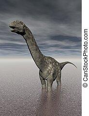 argentinosaurus dinosaur in the lake