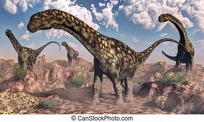 Argentinosaurus dinosaurs - 3D render