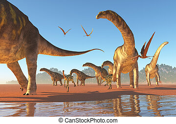 Argentinosaurus Herd - Two Deinocherius move along with a...