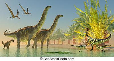Argentinosaurus in Lake - A mother Deinocheirus dinosaur and...