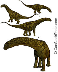 Argentinosaurus. - Set of four dinosaurs in different...