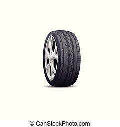 argento, automobile, isolato, risparmiare, ruota, gomma, nero, pneumatico, metallo, colorare, rim., modellato