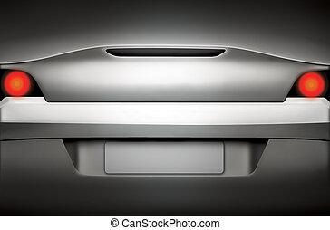 argento, automobile sportivi, vista posteriore