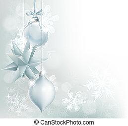 argento, blu, fiocco di neve, bauble natale, fondo