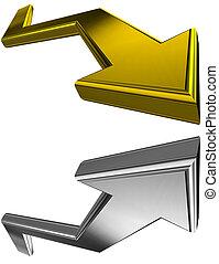 argento, e, dorato, 3d, frecce
