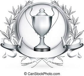 argento, emblema, vettore