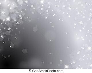 argento, fondo, con, fiocchi neve