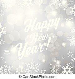 argento, fondo, con, fiocchi neve, e, felice anno nuovo, testo, -, quadrato, versione