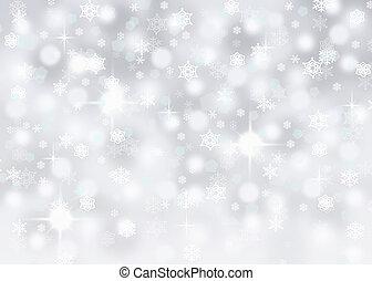 argento, fondo, fiocchi neve