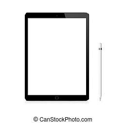 argento, mela, ipad, pro, portatile, congegno, con, matita