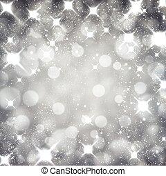 argento, natale, stellato, fondo.