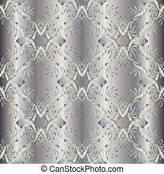argento, ricamo, floreale, 3d, seamless, pattern., damasco, tappezzeria, ba