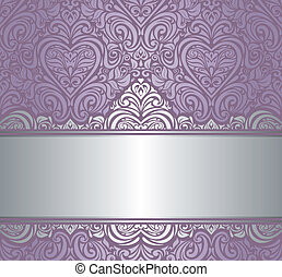 argento, &, viola, invito, disegno