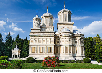 Side view of Arges Monastery in Curtea de Arges, known for the legend of Architect Manole. Landmark of Romania.