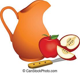 argile, cruche, pommes