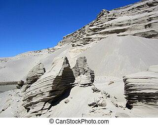 argilla, formazioni, con, cielo