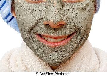 argilla, maschera, effetti, faccia