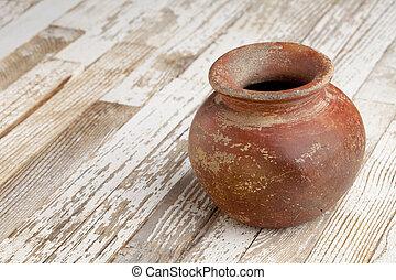 argilla rossa, vaso, su, rustico, tavola