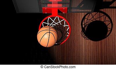 argolla del básquetbol, con, pelota, dentro, punta la vista