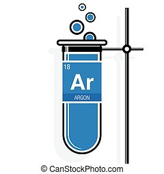 Argon Symbol On Label In A Blue Test Tube With Holder. Element Number 18 Of