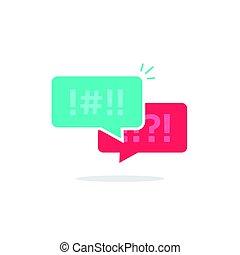 Argue chat bubbles icon vector, argument messages, arguing couple chatting