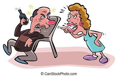 argues, alcoolique, mari, épouse