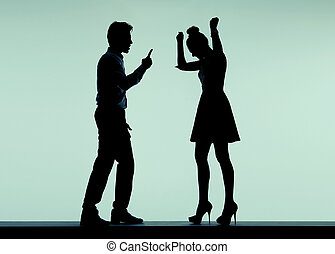 Arguing couple in the bad mood