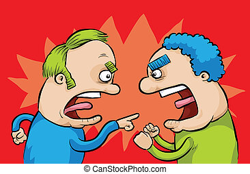 Arguing Men - Two men yell and disagree with one another.