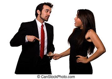 Arguing over money - Brunette caucasian man holding and...