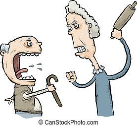 Arguing Senior Citizens - A cartoon senior man and woman...