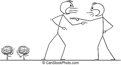 arguire, cervelli, arrabbiato, uomini, due, cartone animato, rottura, loro, vettore, combattimento, presa, o