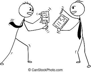 arguire, due, combattimento, cartone animato, uomini affari, concettuale, o