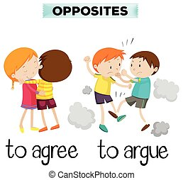 arguire, essere d'accordo, parole, opposto