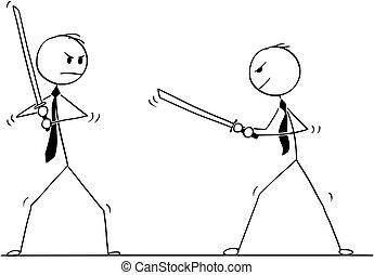 arguire, spade, due, lotta, concettuale, uomini affari, pronto, cartone animato