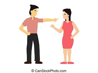 Argument between couple. Concept of discrimination or disagreement or unfairness. Flat isolated vector illustration.