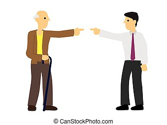 Argument between old man and young man. Concept of discrimination or disagreement or unfairness. Flat isolated vector illustration.