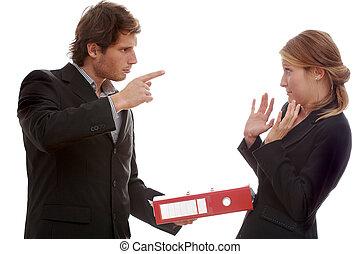 argument, ouvrier, bureau, patron
