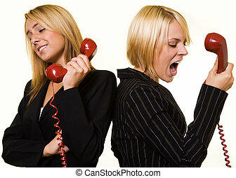 Argument over the phone - Two business women one yelling ...