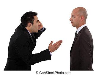 argumentar, dois, homens negócios