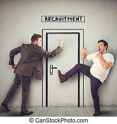 argumentar, entrada, local trabalho