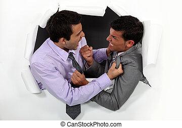 argumentar, jovem, homens negócios