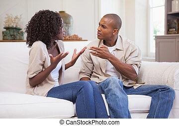 argumentar, par, infeliz, sofá