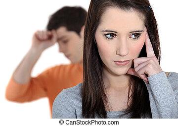 argumentar, par, jovem