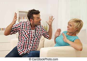 argumento, durante, esposa, gritando, homem, seu, lar