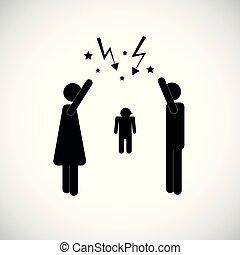 argumentując, para, dziecko, ikona, piktogram