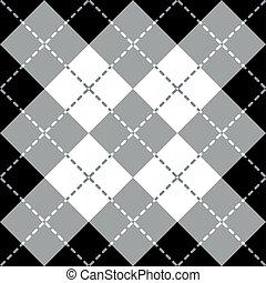 argyle, desenho, em, gray-white-black