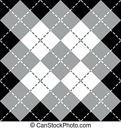 Argyle Design in Gray-White-Black