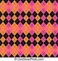 Argyle Design in :Pink, Orange and Black.