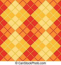 argyle, disegno, in, rosso giallo